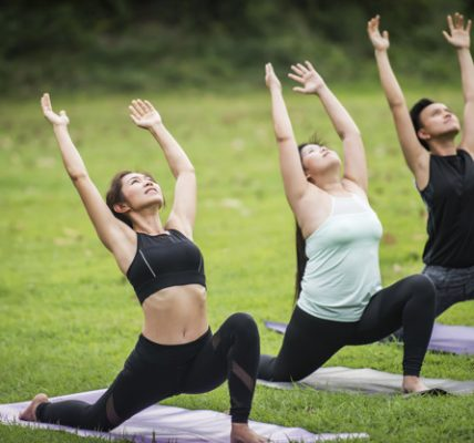 Yoga action exercise healthy in the park
