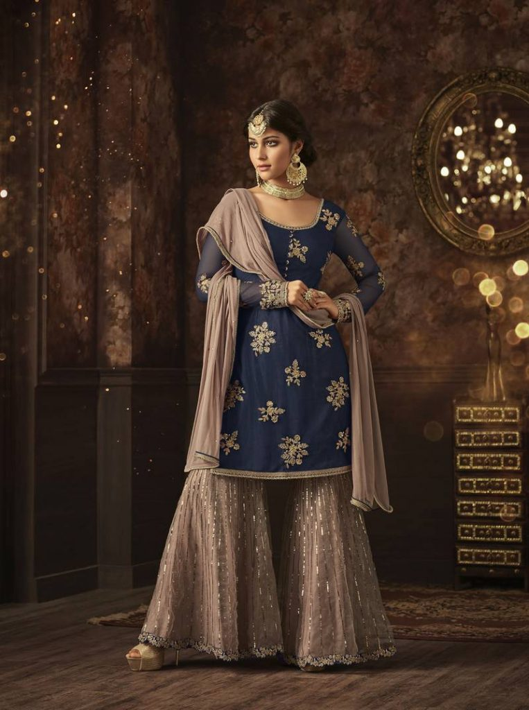 Navy Blue Colour Sharara