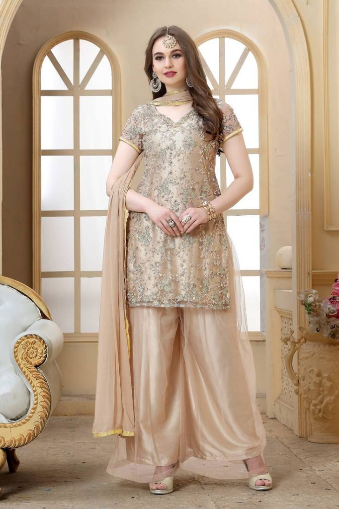 Cream Colour Sharara Suit